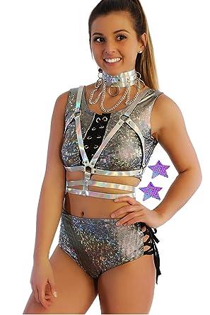 0b46471b2eb707 Rave Body Harness Festival Clothing Hologram Pasties EDM Bodysuit Clothes