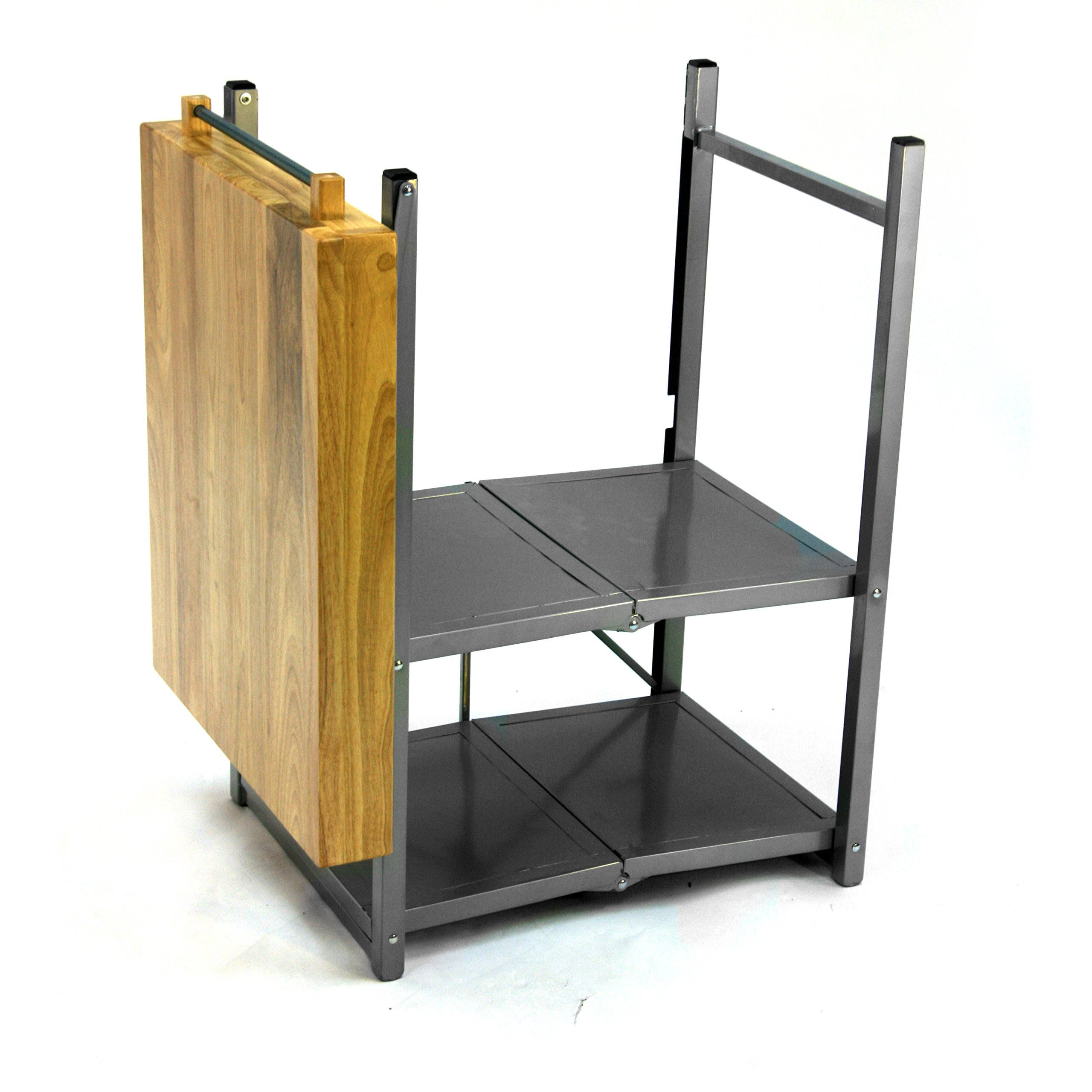 Origami Foldable Rolling Kitchen Island Cart, Food Serving Cart, 3-Tier Storage Shelf with Wood Top, Microwave Stand, Heavy Duty, Silver by Origami (Image #4)