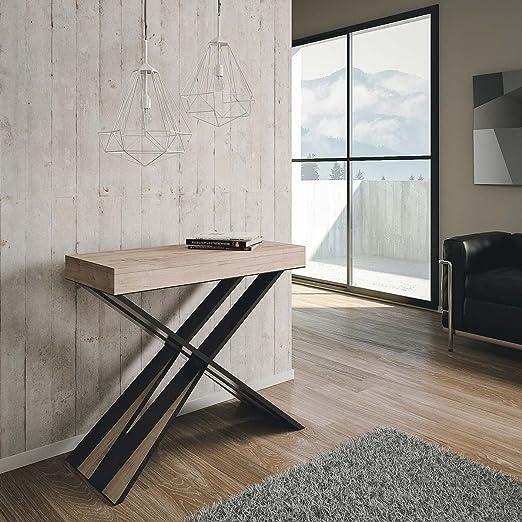 Mesa consola extensible Diago de roble natural, estilo moderno, 14 ...