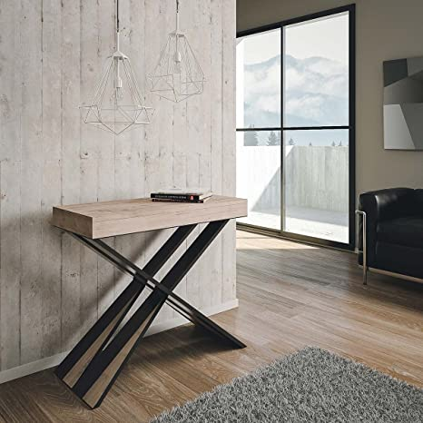 Group Design Tavolo Consolle Allungabile Made in Italy Diago Rovere Natura  Moderna 14 Posti