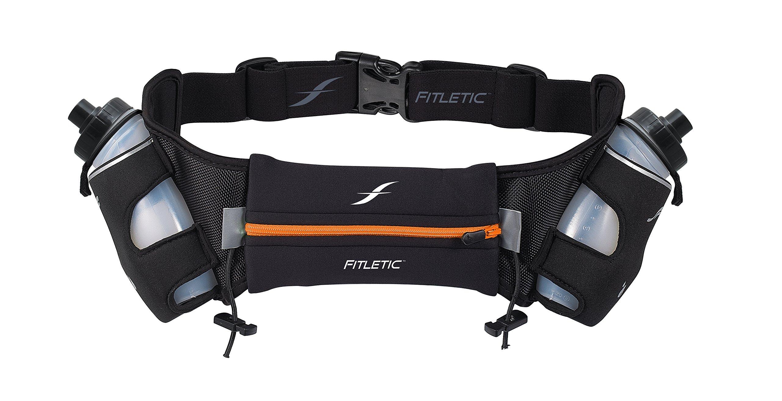 Fitletic  12 Oz Hydration Belt, Black/Orange, Small/Medium