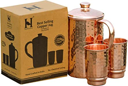 Pure Copper Handmade Jug Water Pitcher 1.5 L /& 2 Glasses Tumbler 300 ml 1 Bottle