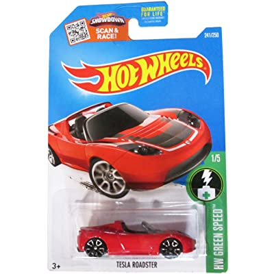 Hot Wheels 2016 H.W. Green Speed Tesla Roadster Red 241/250: Toys & Games