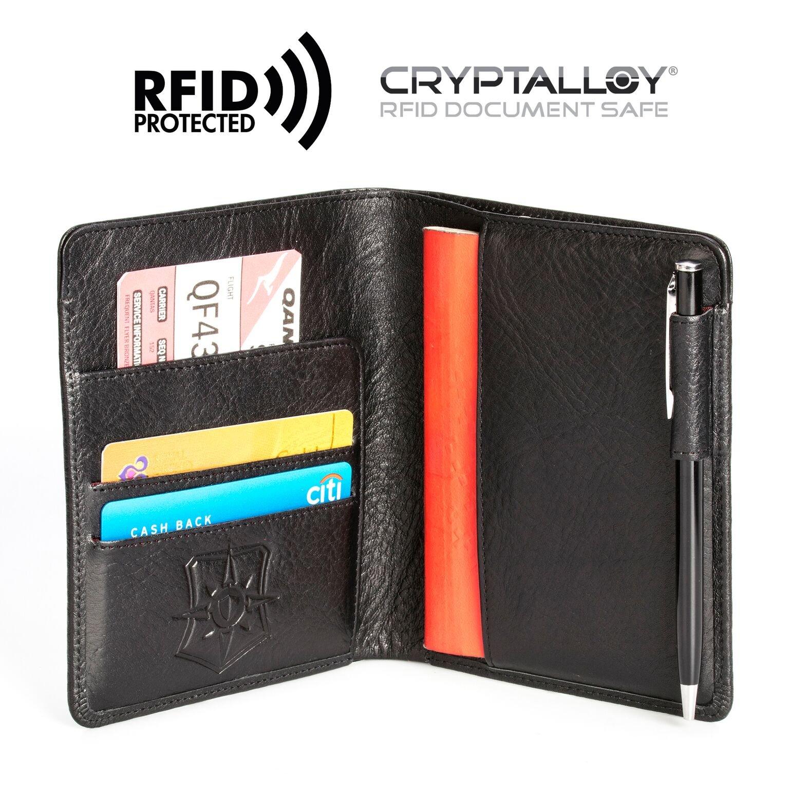 Pagalli Vincente Men Women Unisex Premium Genuine Leather RFID Blocking Pen Boarding Pass Credit Card ID Theft Protector Thin Slim Passport Travel Holder Wallet Wallets, Black