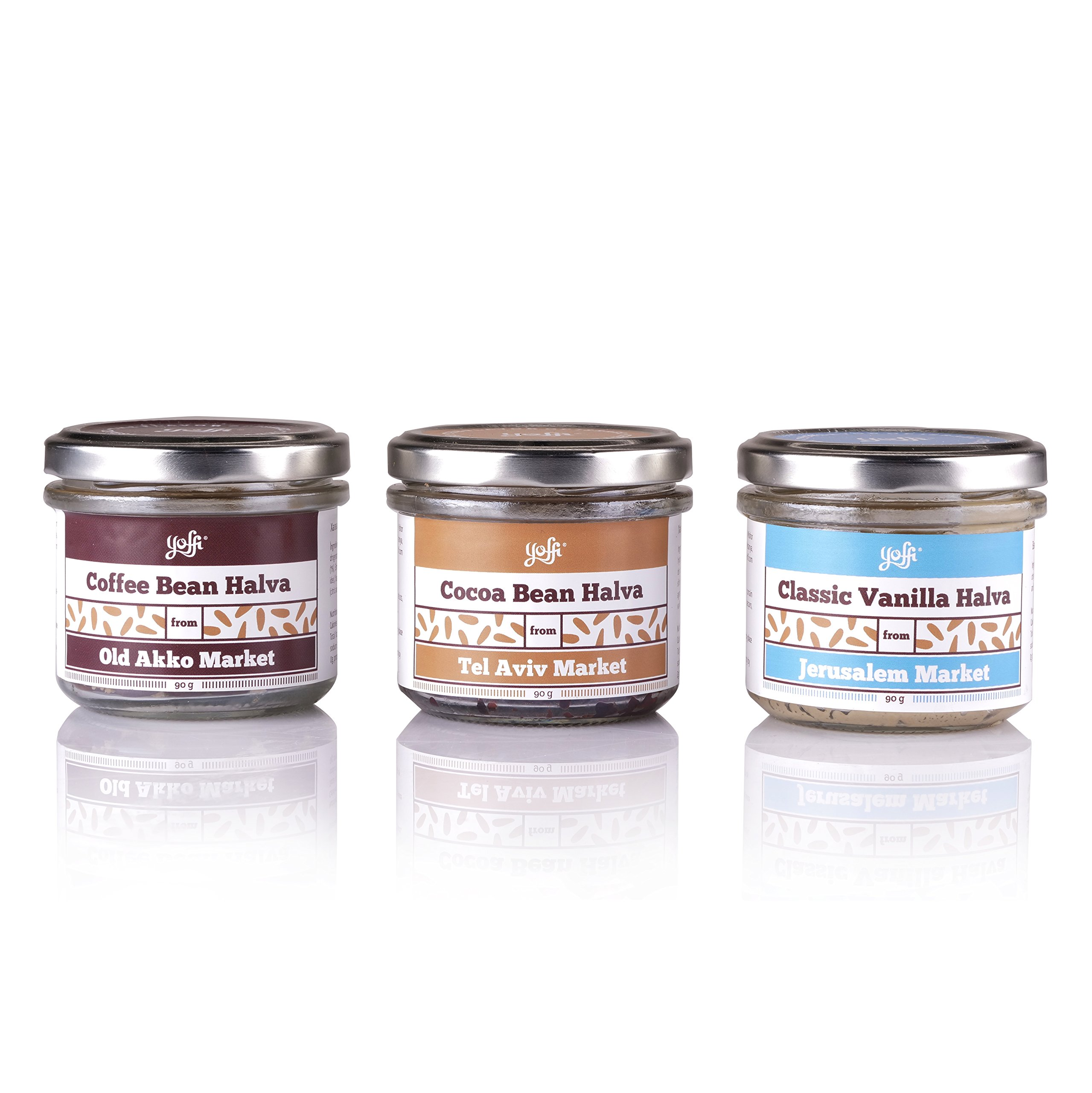 Yoffi Gift Set Natural Israeli Authentic Halva Spread, Premium Gourmet Set of 3 Delicious Flavors, Vegan Friendly Kosher Pareve by Yoffi