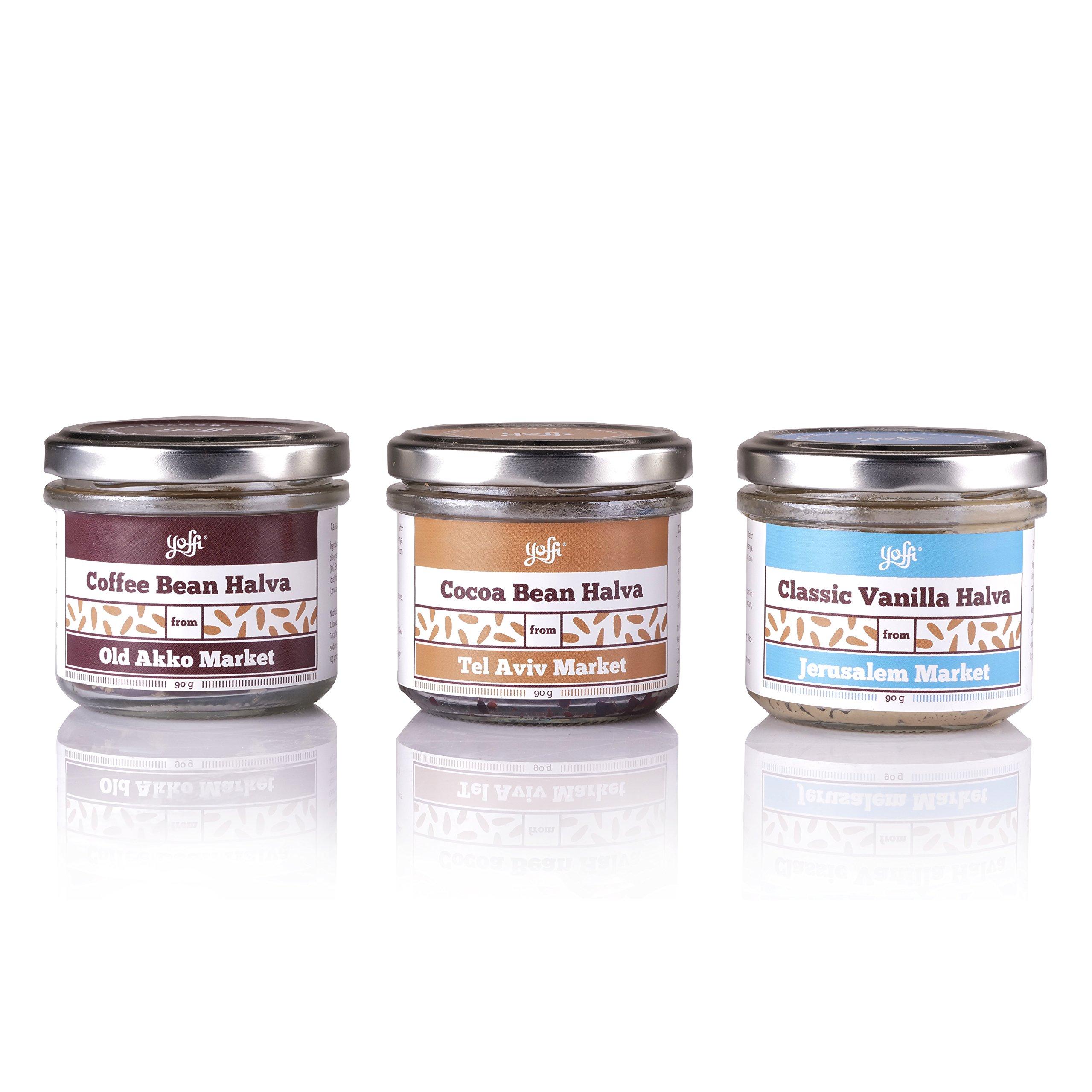 Yoffi Gift Set Natural Israeli Authentic Halva Spread Premium Gourmet Set 3 Delicious Flavors Vegan Friendly Kosher Pareve