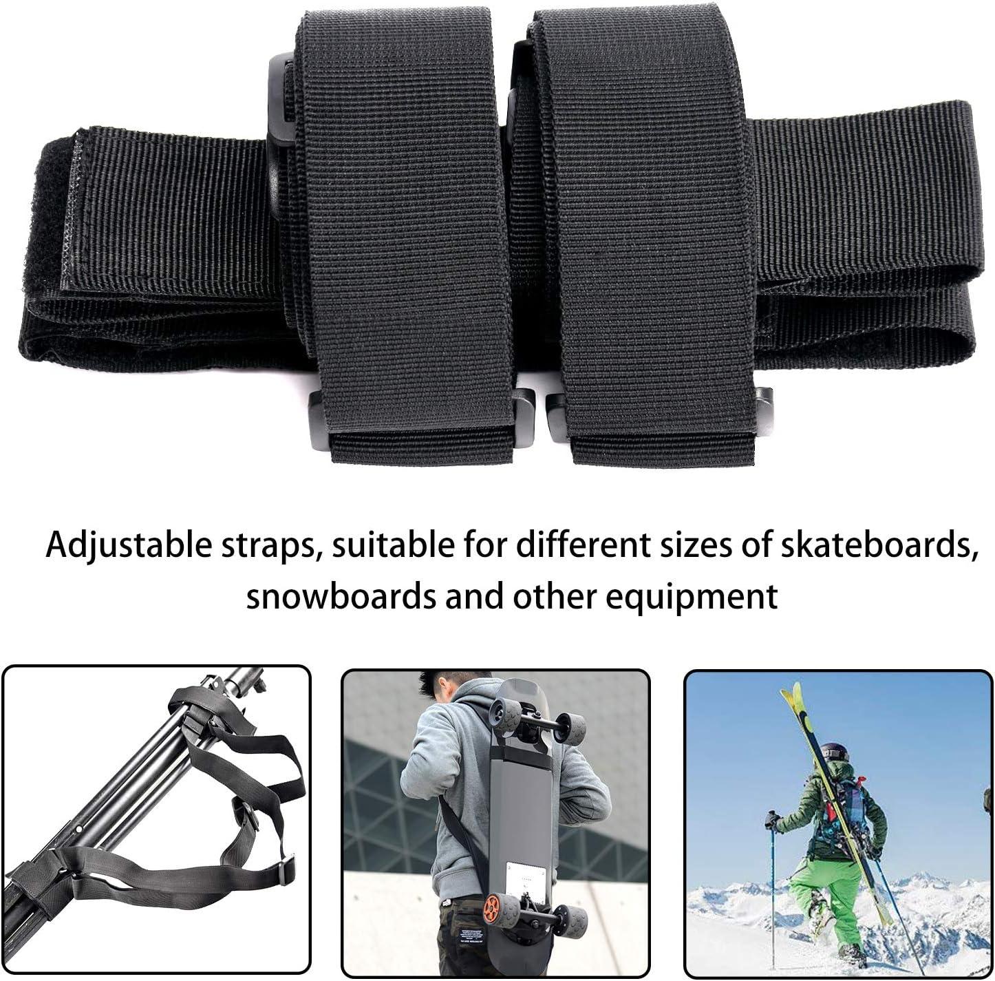 Adjustable Longboard Shoulder Carrier Backpack Belts TOBWOLF Universal Skateboard Shoulders Carry Strap Fit for All Skateboards /& Snowboards /& Skis Carry