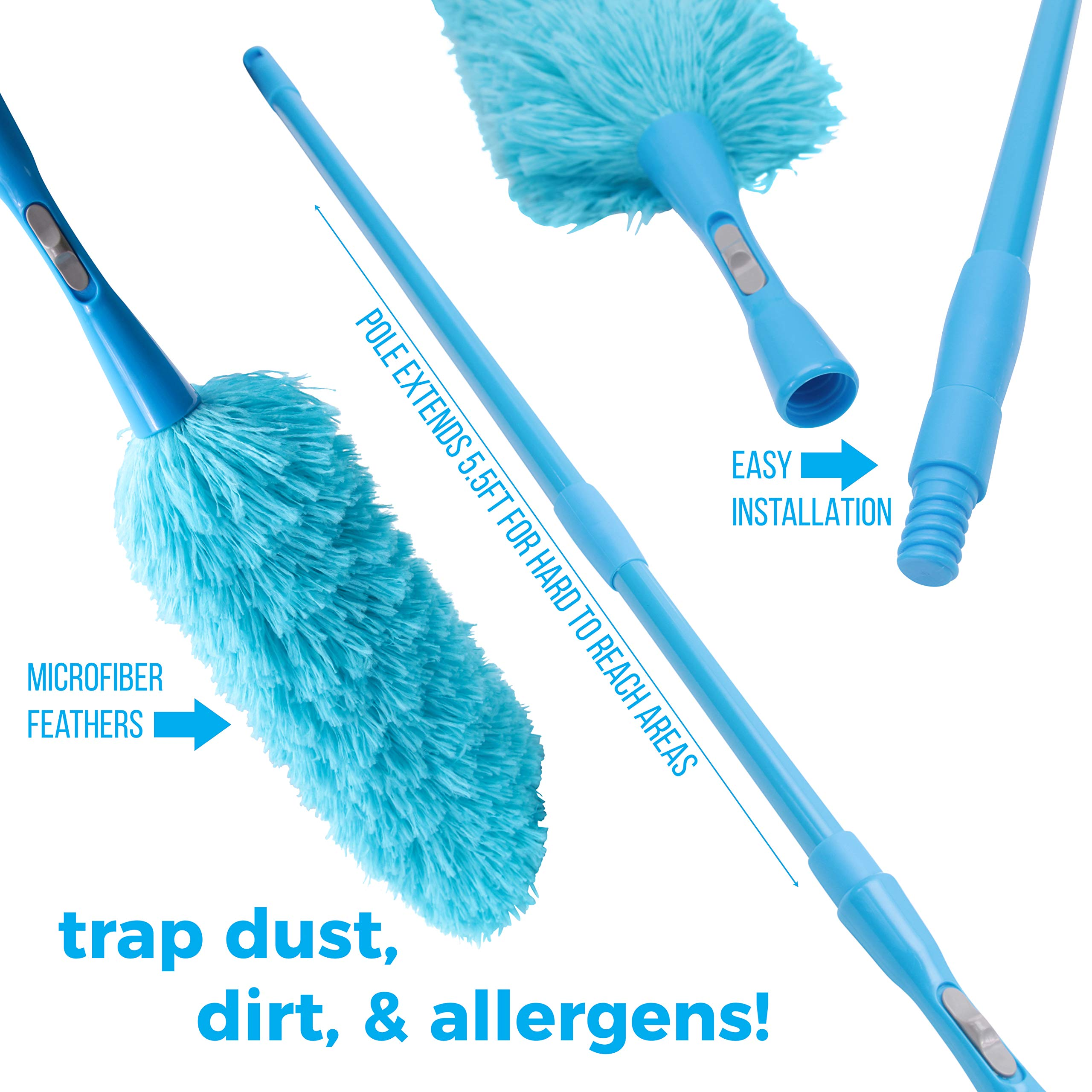 Hank HouseHold TriboDuster with Bonus Blinds Cleaner - Microfiber Duster for Cleaning with Extendable Telescoping Pole Up to 5ft6''! Ceiling Fan Dusters, Cobweb/Spider Web Brush and Blind Duster by Hank HouseHold (Image #8)