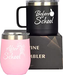 Before School, After School Coffee Mug and Glass Set for Teachers, Professors, Mentor, Teaching Assistant,Funny Idea for Teacher's Day, Teacher Appreciation, Gifts for Teacher Women