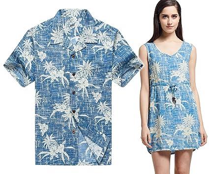 7ba57190 Couple Matching Hawaiian Luau Outfit Aloha Shirt Tunic Slip On Dress in  Vintage Pineapple Blue Men