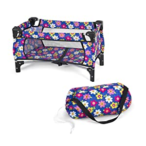 Exquisite Buggy Fash N Kolor Baby Doll Crib Set with Pack n Play Bassinet Blanket & Carry Bag for Baby Doll | Baby Doll Crib Set for Kids up to 18 inches with Purple Pink Flower Design