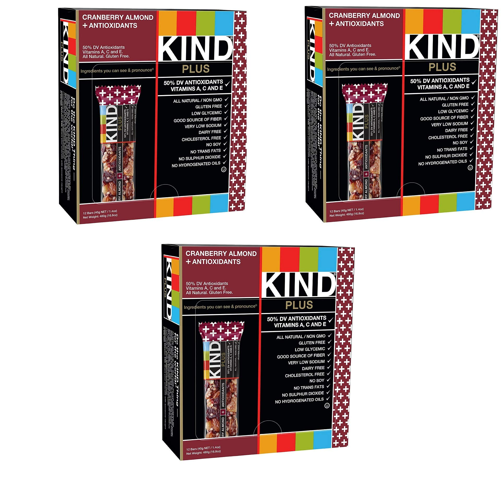KIND Bars, Cranberry Almond plus Antioxidants with Macadamia Nuts, Gluten Free, Low Sugar, 1.4oz, 36 Bars