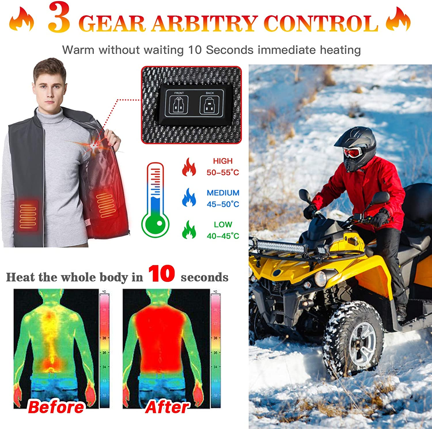 Battery Not Included Keymao Electric Warmer USB Heated Vest 44 Temperature Regulation Lightweight Adjustable Size for Men