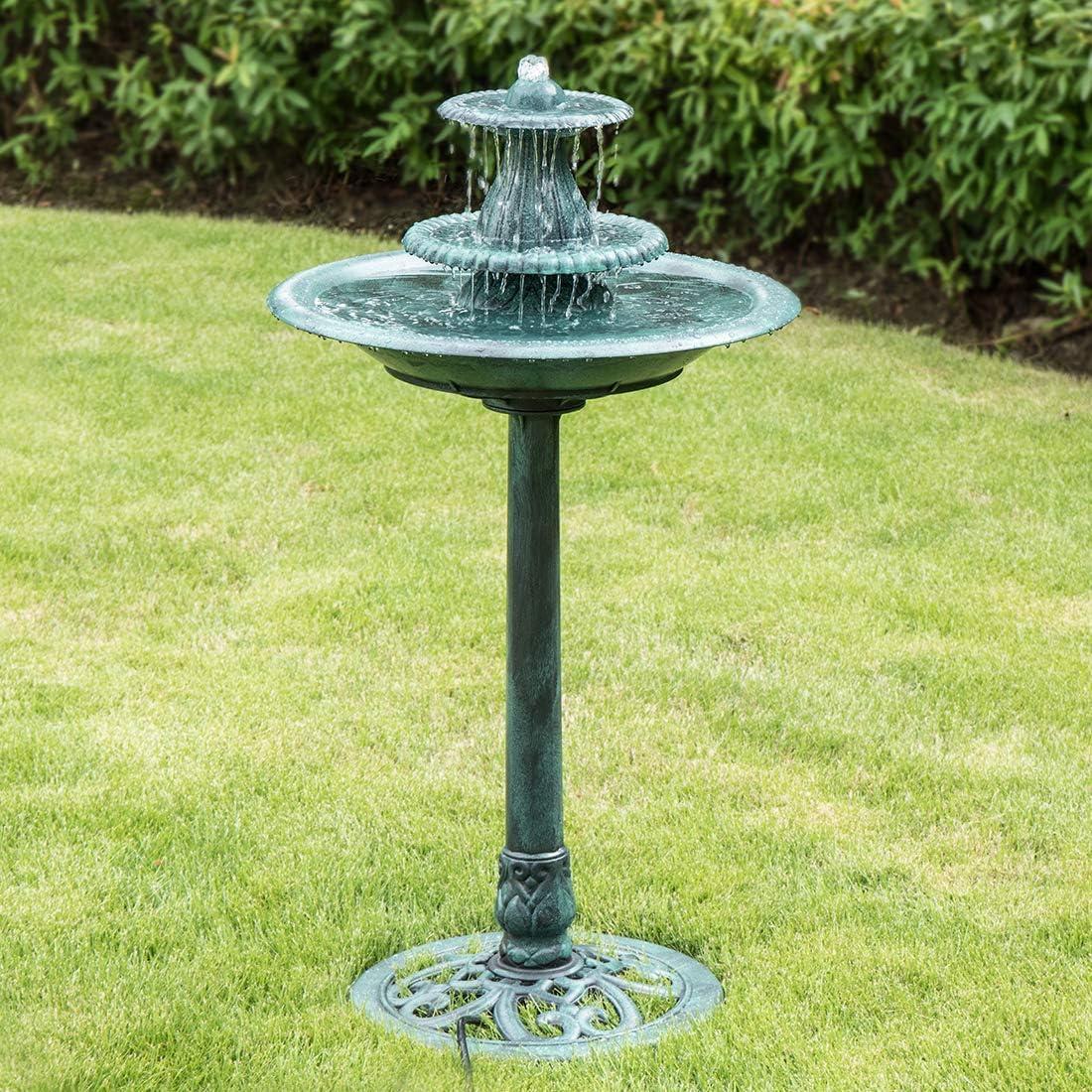 VIVOHOME 110V 40 Inch Height 3 Tiers Freestanding Electric Polyresin Lightweight Antique Outdoor Garden Bird Bath Water Fountain