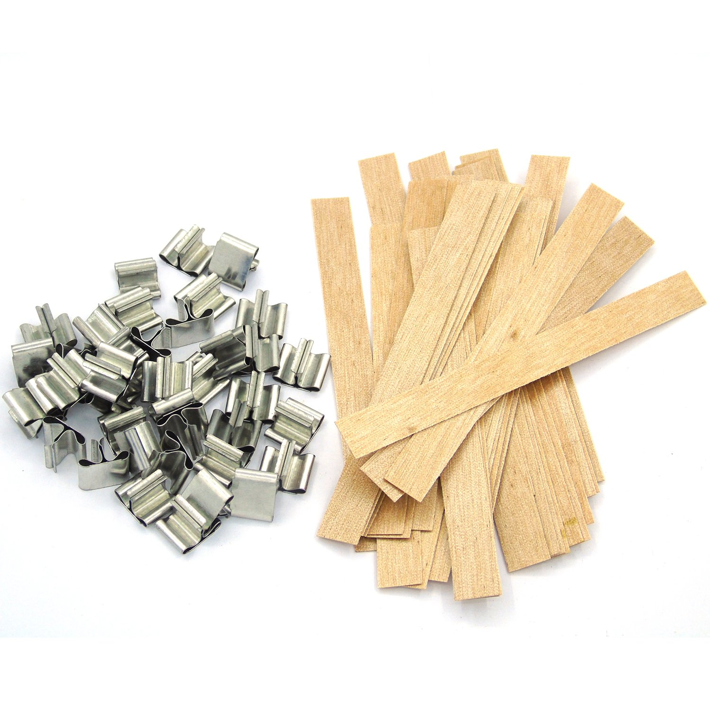 Gersun 50PCS 12,7cm legno stoppini per candela fare fai da te, con 50ancoraggi metallici