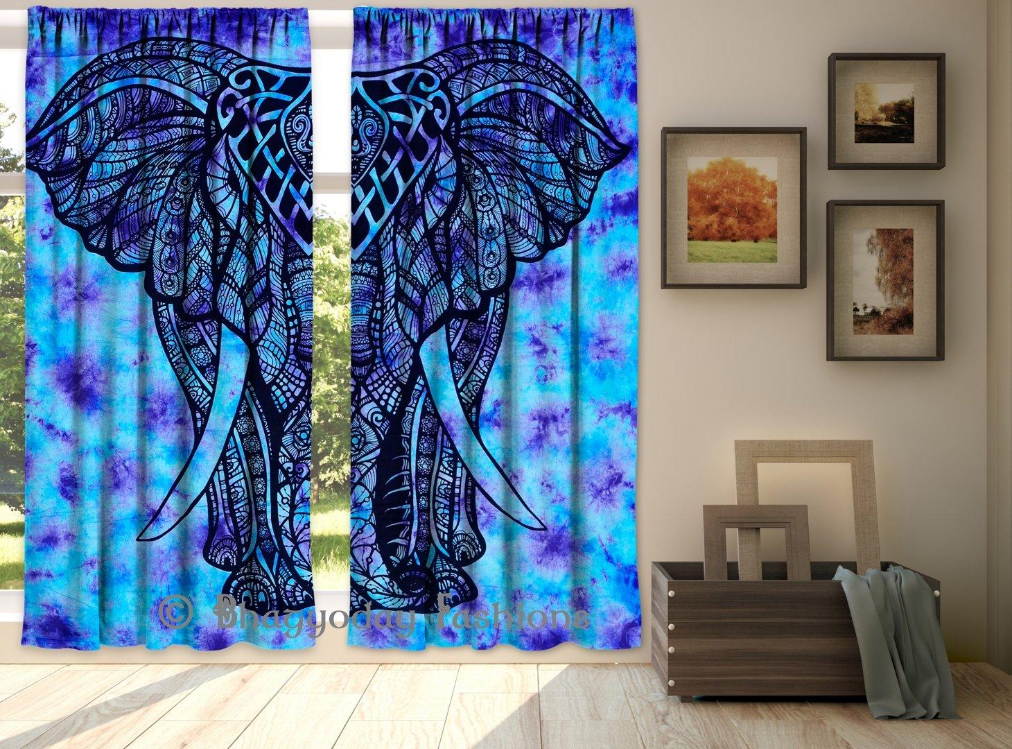 Amazon.com: Elephant Mandala Indian Hippie Curtains Drape Balcony ...