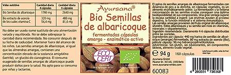Semillas de Albaricoque (Vitamina B17) Ayursana 160 cápsulas de Uni Nat