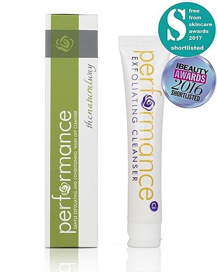 Limpiador exfoliante facial natural por Performance; espuma limpiadora facial para acné sin crueldad, hidrata y humecta con vitamina ...