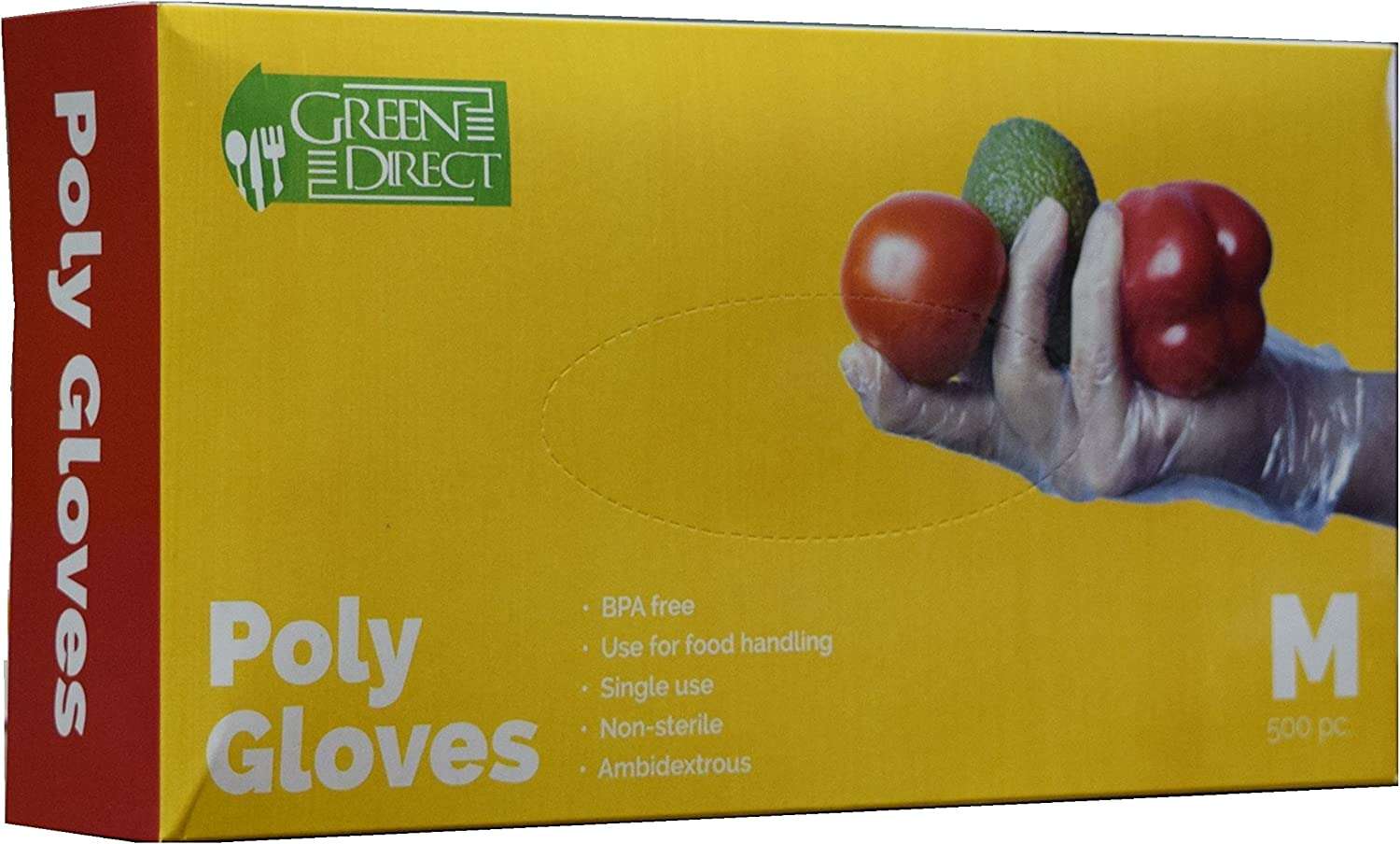 Green Direct Disposable Plastic Food Preparation Poly Gloves Size Medium 2 Boxes of 500