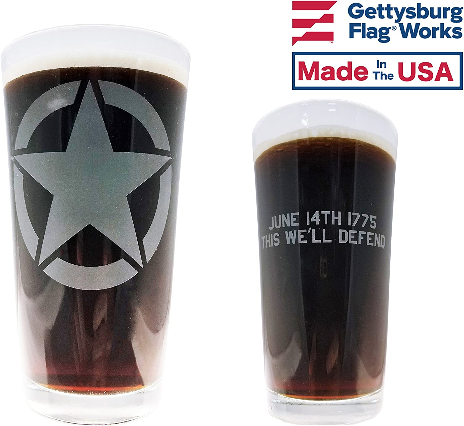 Made in USA US Army Pint Glass,16 oz This We/'ll Defend Military Motto Design
