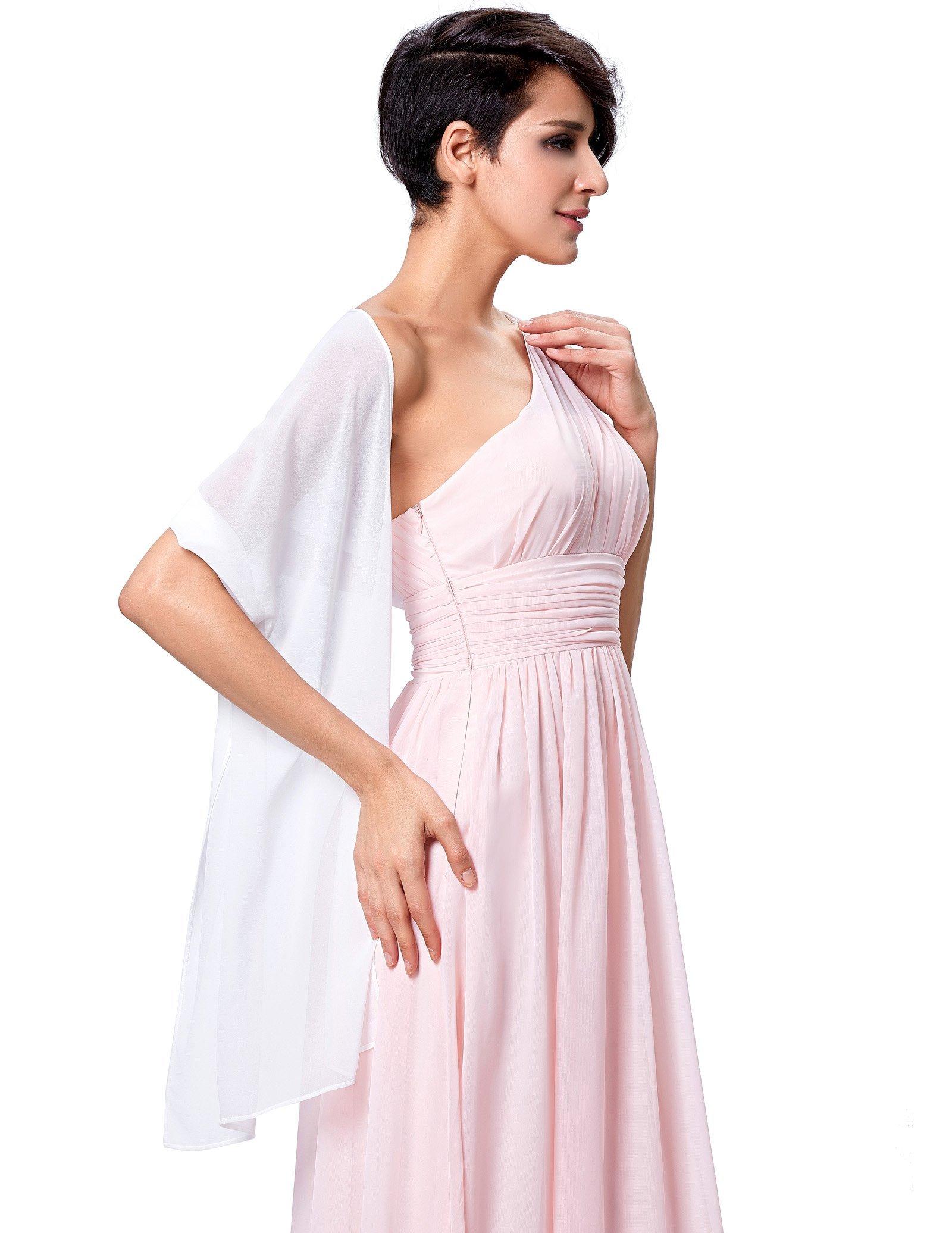 Wedding Soft Chiffon Evening Party Shawls Scarves for Women White KK229 by Kate Kasin (Image #4)