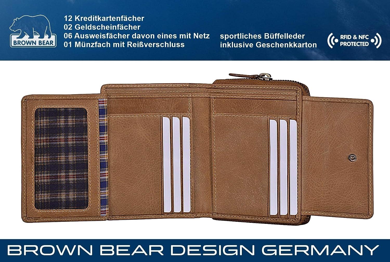 4f3fe447aecd8 Brown Bear Geldbörse Damen Leder Braun groß viele Facher RFID Schutz  Reißverschluss hochwertig Camel Vintage Design Geldbeutel Frauen  Portemonnaie ...