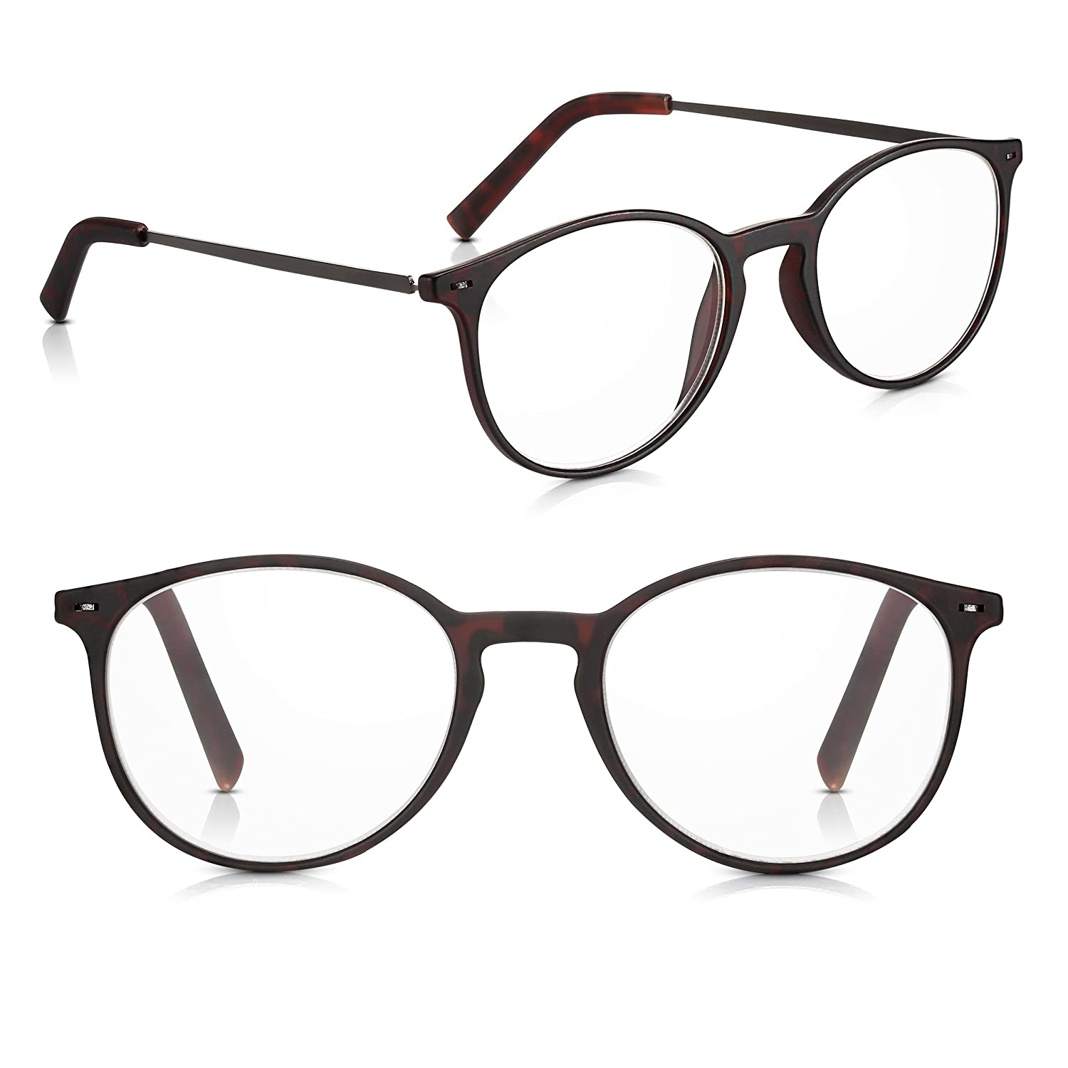 ab5700f75f Read Optics 2 Pack +2.00 Mens Womens Non-Prescription Reading Glasses   Classy Spectacles in Dark Polycarbonate Round Frames + Stylish Metal Arms.  Durable