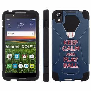 Alcatel One Touch IDOL 4 [Nitro 4/49] Phone Cover, Keep Calm and Play Ball - Boston - Black Hexo Hybrid Armor Phone Case for Alcatel One Touch IDOL 4 [Nitro 4/49]