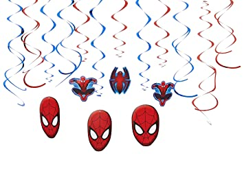 Decoraciones Spiderman festoon Espiral niños fiesta de cumpleaños de la fiesta de Spider-Man