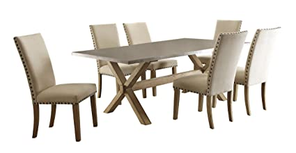 Homelegance Luella 7 Piece Dining Set 84-inch Zinc Top Dining Table and 6  Fabric Upholstered Chairs, Beige