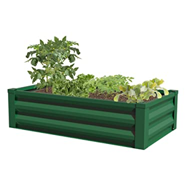 Greenes Fence Powder-Coated Metal Raised Garden Bed Planter 24  W x 48  L x 12  H