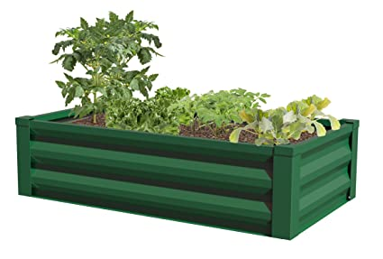 Amazon.com: Greenes Fence Powder-Coated Metal Raised Garden Bed ...