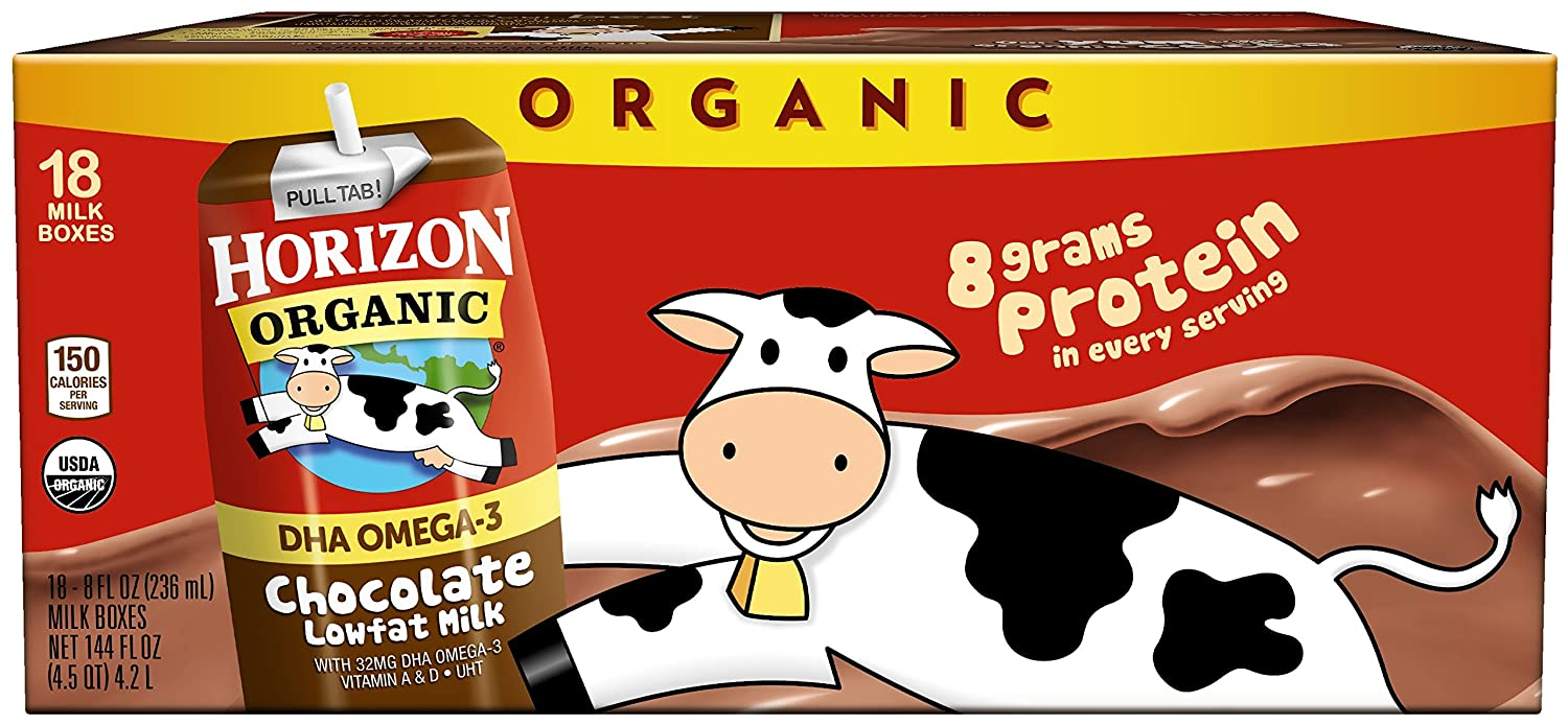 Horizon Organic, Lowfat Organic Milk Box With DHA Omega-3, Chocolate, 8Fl. Oz (Pack of 18), Single Serve, Shelf Stable Organic Chocolate Flavored Lowfat Milk, Great for School Lunch Boxes, Snacks