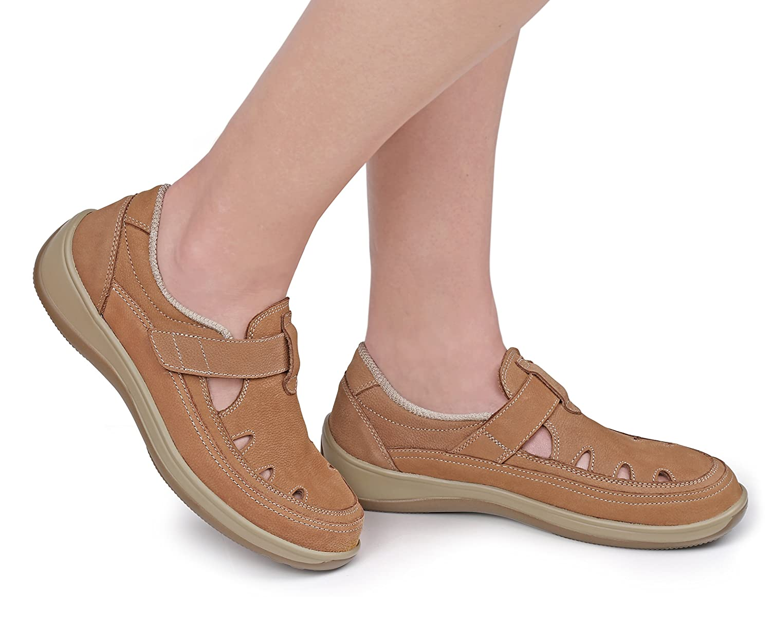 Orthofeet Proven Pain Relief Comfort Serene Womens Orthopedic Arthritis Diabetic T-Strap Shoes B016N9U5YM 11 XW US|Tan