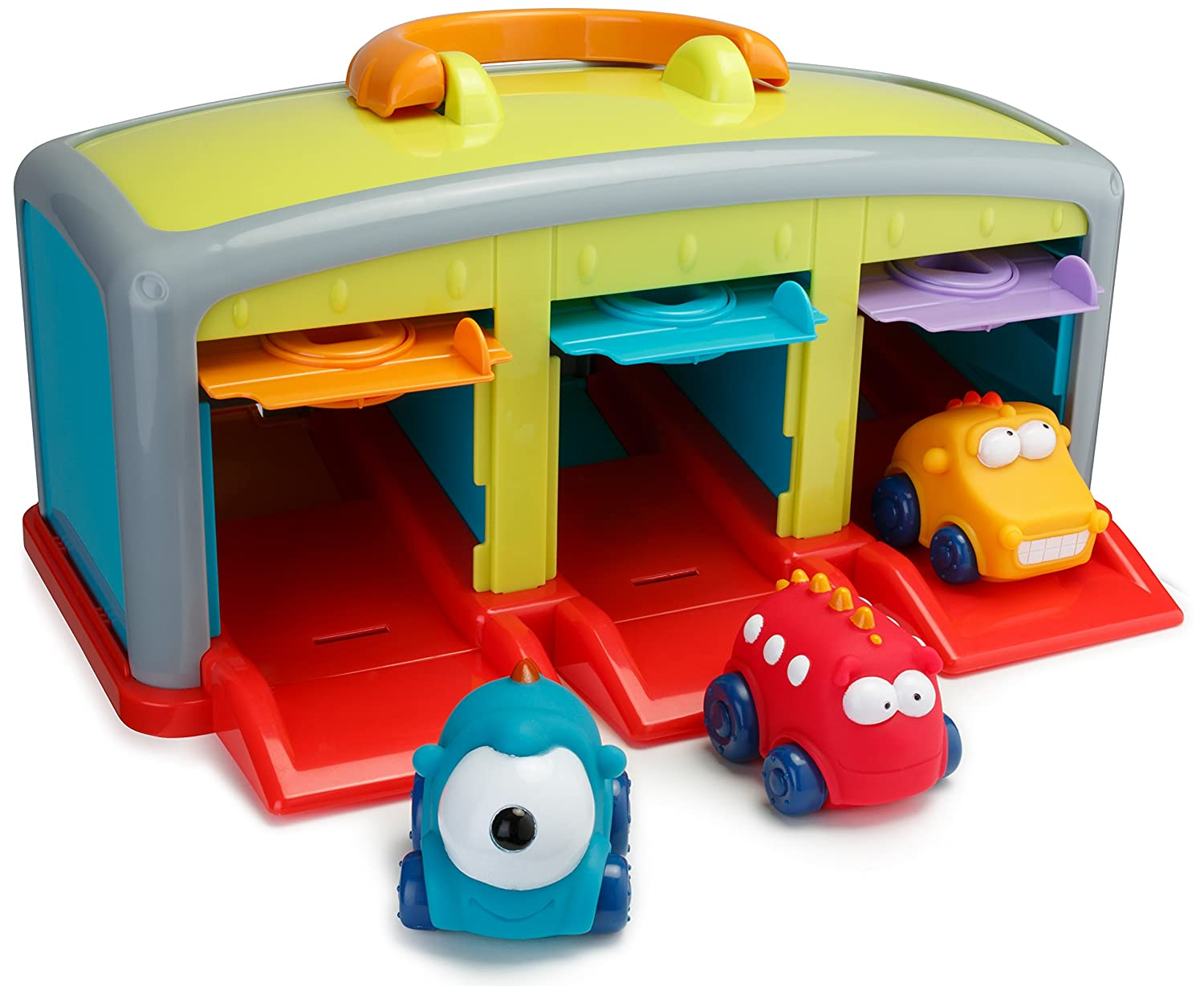 amazoncom playkidz super durable monster garage monster vehicle car garage toys for kids toys games