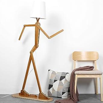 HROOME Nordique Decoratif Lampadaire de Salon Moderne Lampe sur Pied Bois  avec Abat Jour Blanc Reglable Lampe de Sol Chambre Design (Walnut)