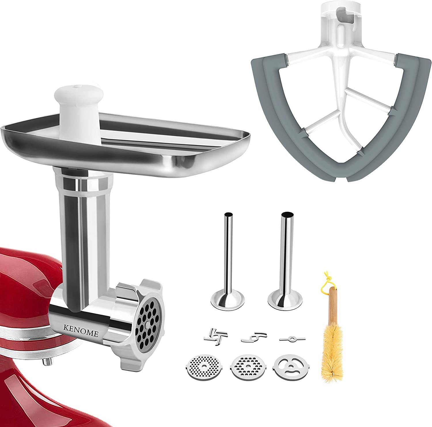 Metal Food Grinder Attachment for KitchenAid Stand Mixers and 4.5/5 Quart Flex Edge Beater for KitchenAid Tilt-Head Stand Mixers.