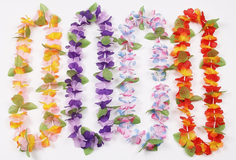 Amazon Oojami 12 Hawaiian Ruffled Simulated Silk Flower Leis