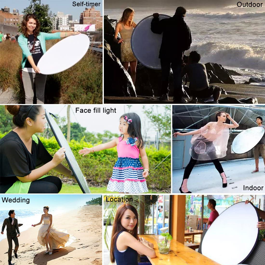 Yifant 5-in-1 110CM//43 Multi Foldable Reflector Board Photo Studio Backgrounds Panels Portable Folding Light Photography Reflector