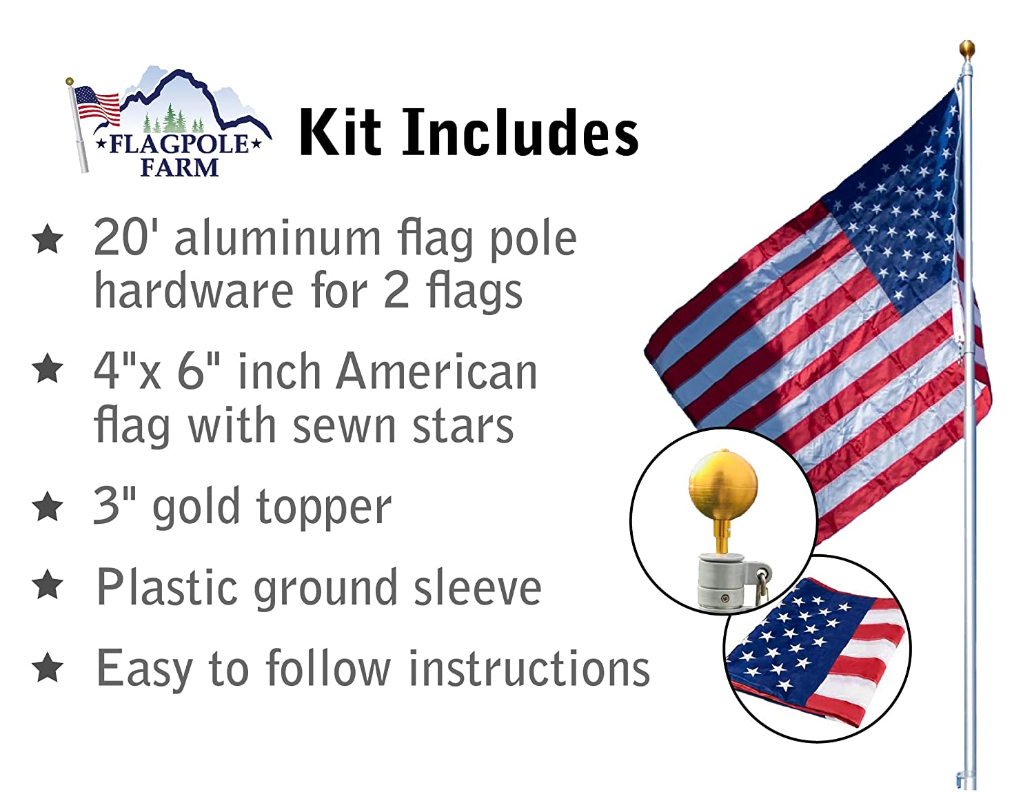 Titan Telescoping Flag Poles, Silver, 20ft- Heavy Duty Aluminum Flag Pole  Kit, Kit Includes, Telescoping Flagpole, Hardware to Hang 2 Flags, 4 x 6
