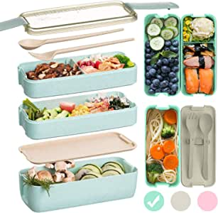 Edtsy Bento box for kids and adults with Dividers 1100 ml - Leakproof lunchbox with utensils - Lunch Solution Offers Durable, Leak-Proof, On-the-Go Meal and Snack Packing (Green)