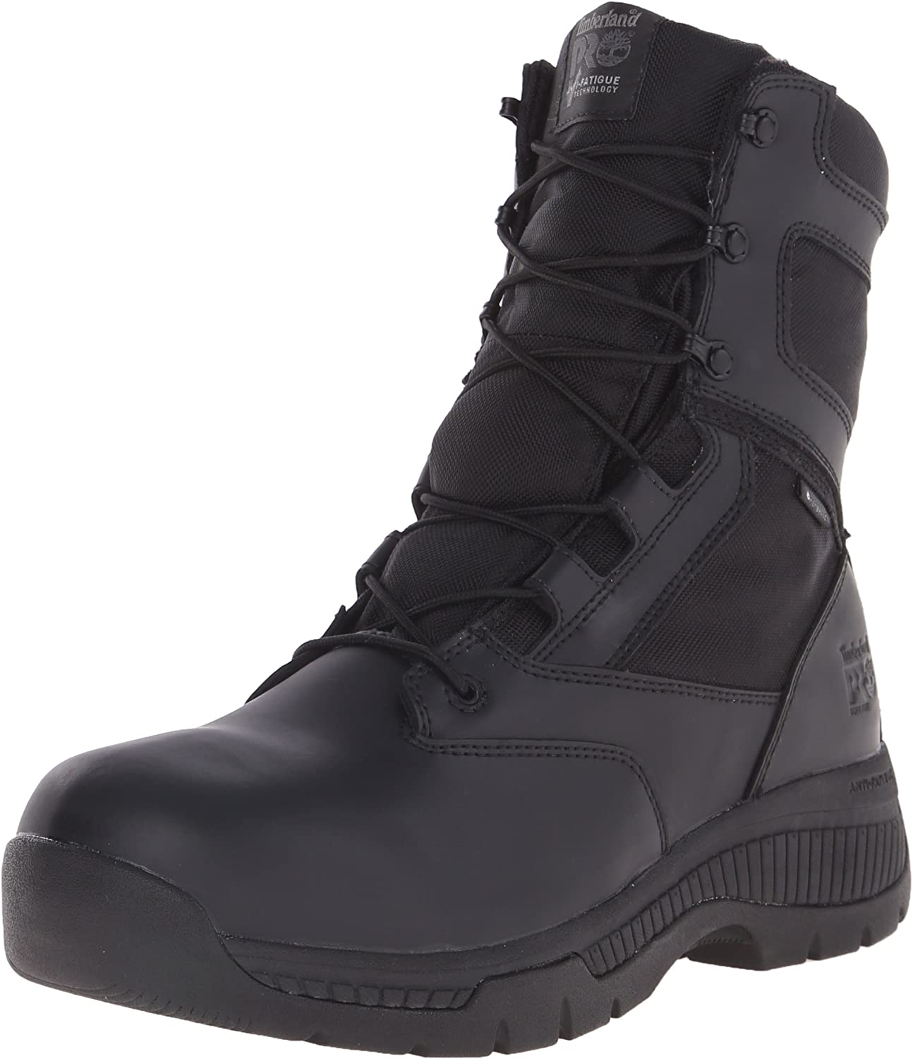 Timberland PRO Men's 8 Inch Valor Soft Toe Waterproof Side Zip Work Boot, Black Smooth Leather Ballistic Nylon, 14 W US