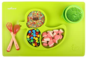 amazon com premium one piece silicone placemat plate for kids by