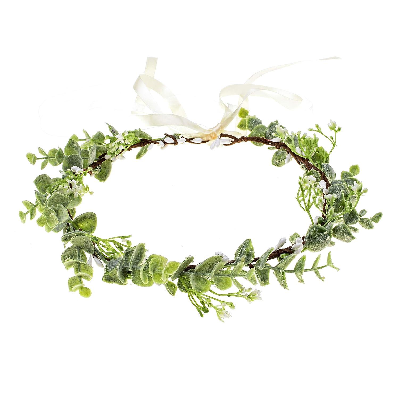 Merroyal Succulent Flower Crown Eucalyptus Halo Wedding Floral Headband Photo Prop Clothing