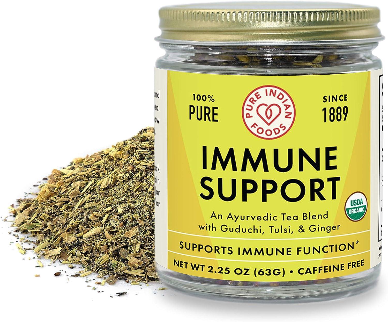 Pure Indian Foods Ayurvedic Immune Support Tea (Guduchi, Tulsi, & Ginger), Certified Organic - 2.25 oz