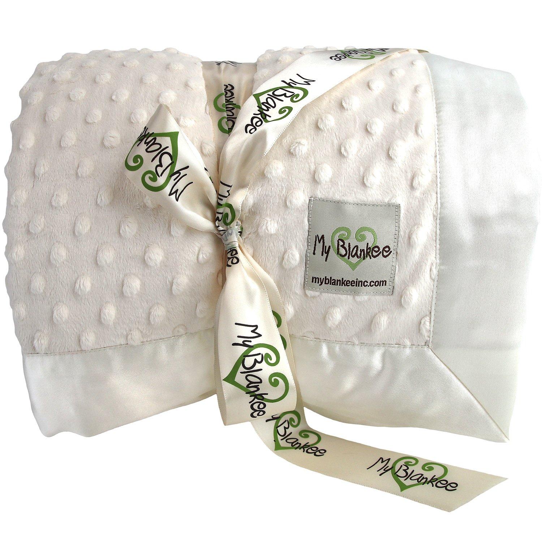 My Blankee Minky Dot King Blanket with Flat Satin Border, Cream, 108'' X 90''