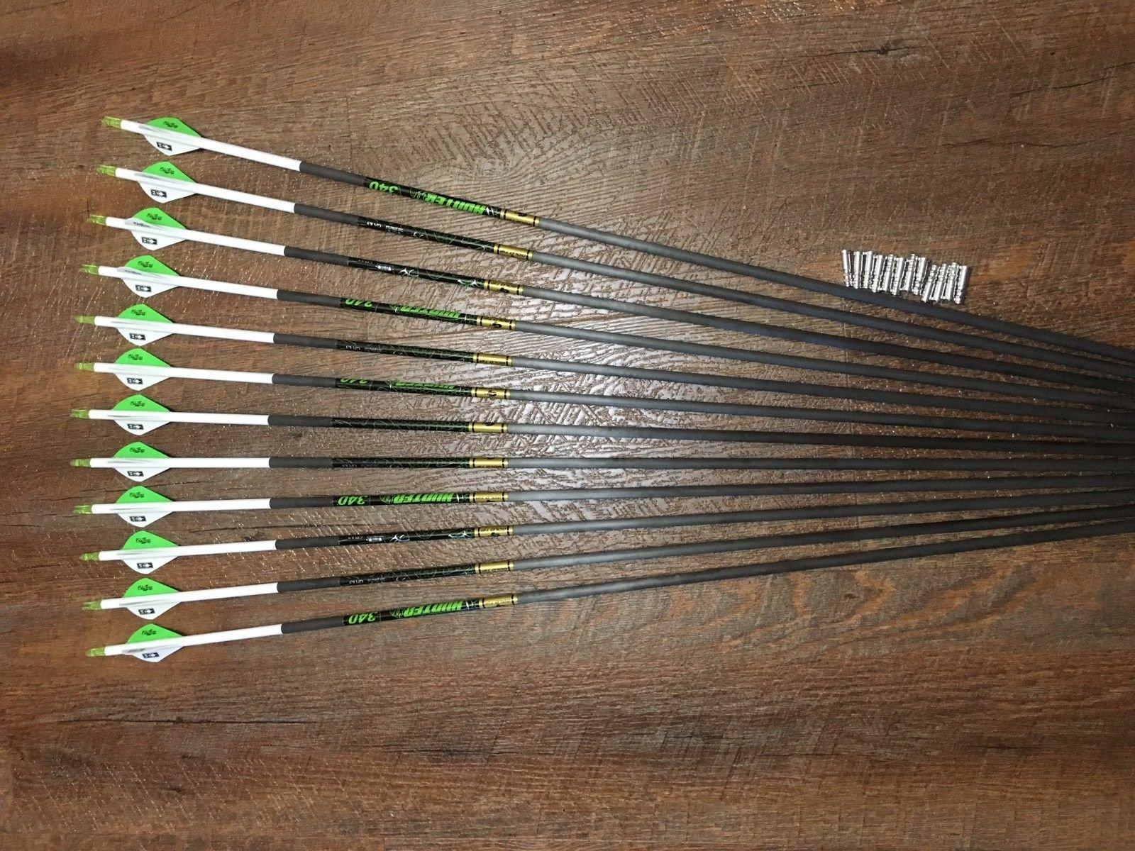 Gold Tip XT Hunter 340 Arrows with Blazer Vanes Custom Made Set of 12
