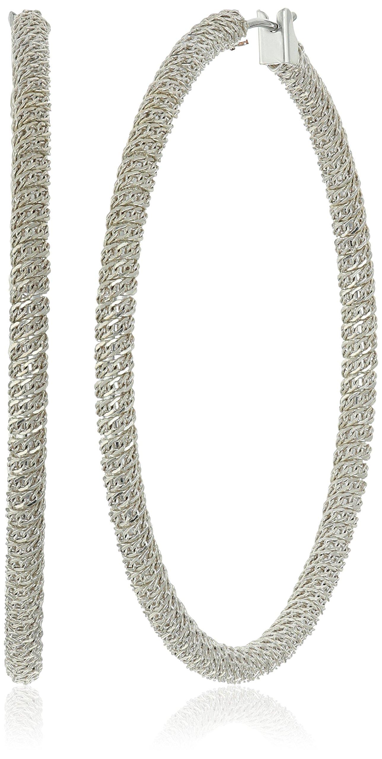 Diane von Furstenberg Thea Silver Chain Wrapped Hoop Earrings
