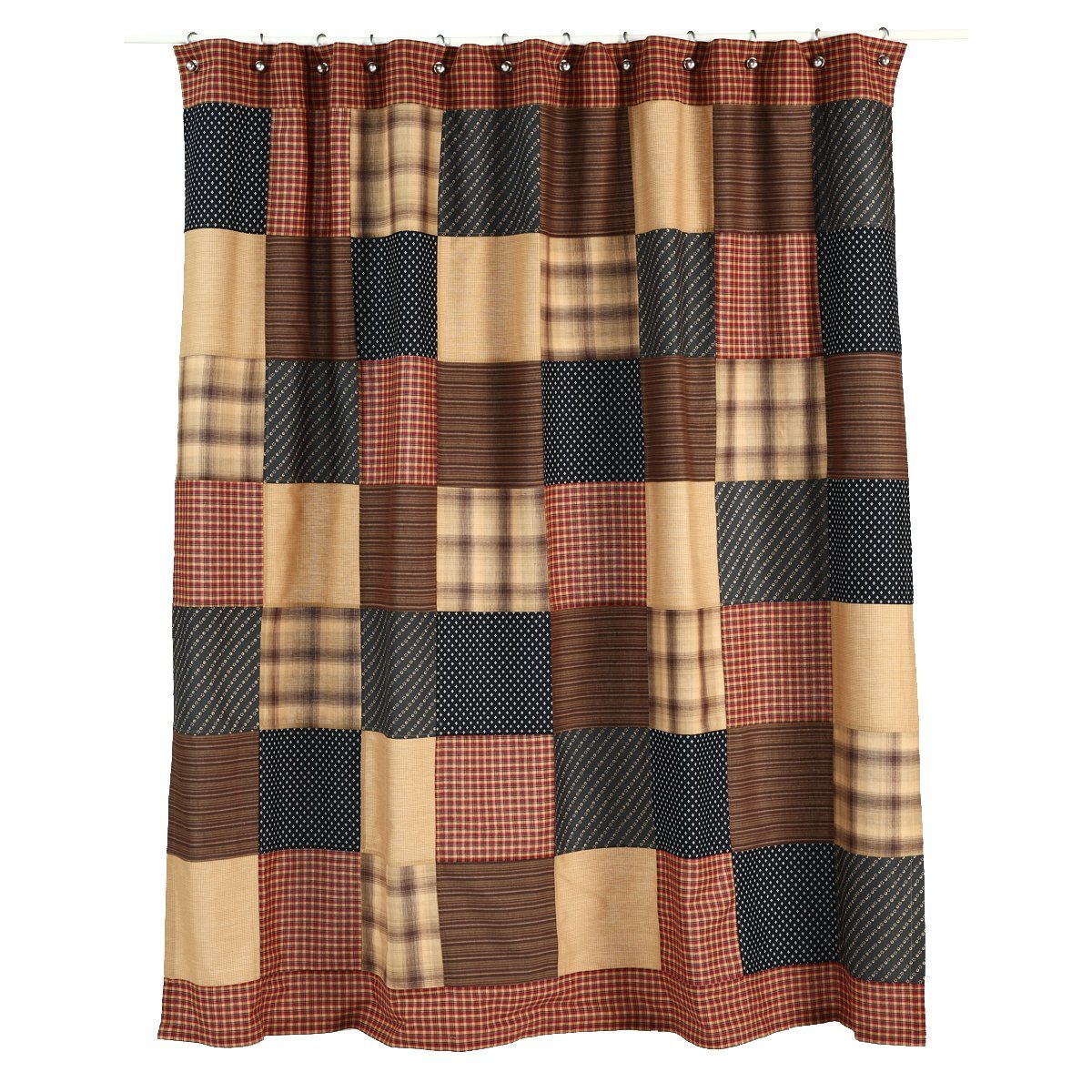 VHC Brands 7732 Shower Curtain 72x72, 72 x 72, Patriotic Patch