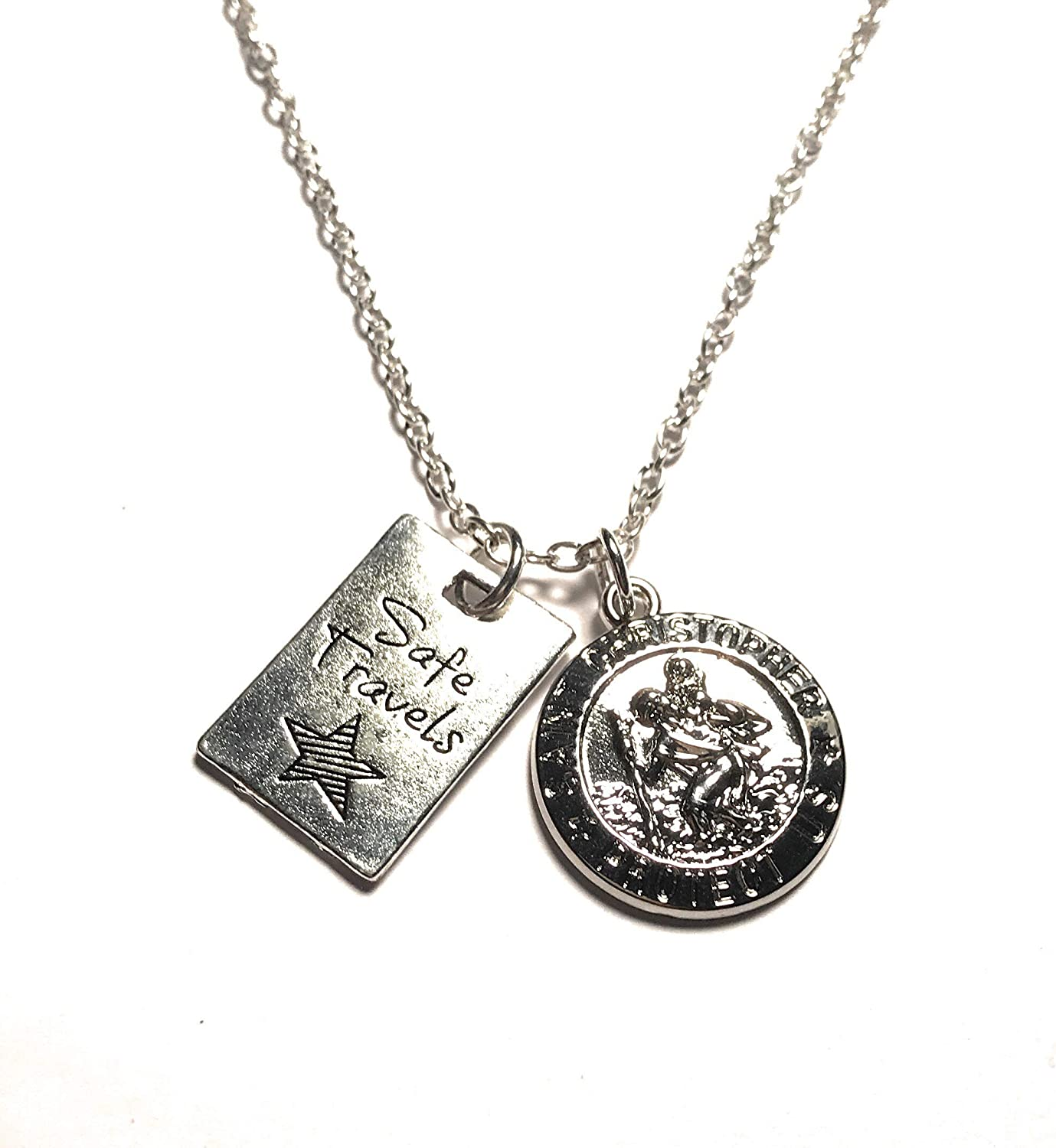 St Christopher Protect Us Gold Tone Charm Pendant Choker Necklace w Black Cord